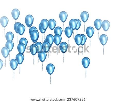 Blue balloons celebration background - stock photo
