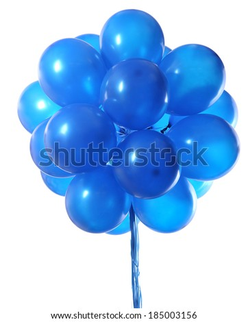 Blue balloons isolated on white  - stock photo
