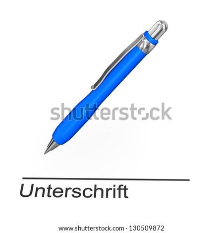 """Blue ballpen with german text """"Unterschrift"""" translate """"Signature"""". - stock photo"""