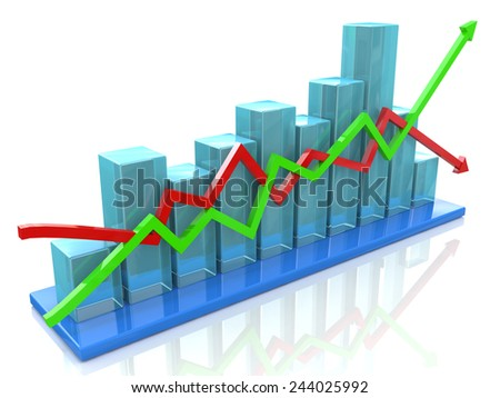 Blue bar chart and arrows depicting growth or fall of profits - stock photo