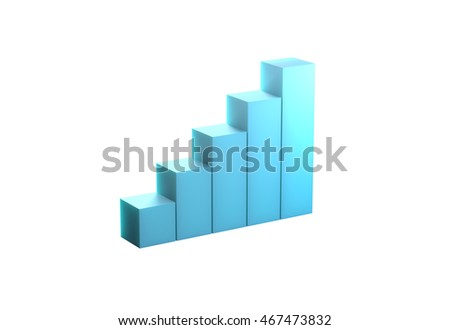 Blue bar chart high quality 3d rendering,