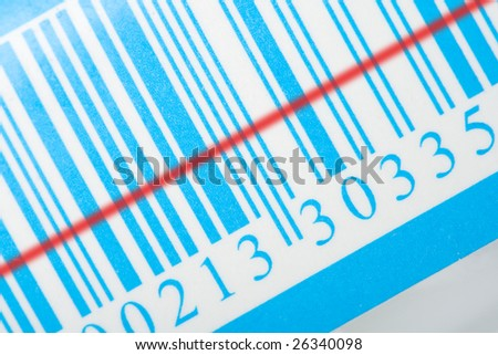 blue barcode with red laser strip - stock photo