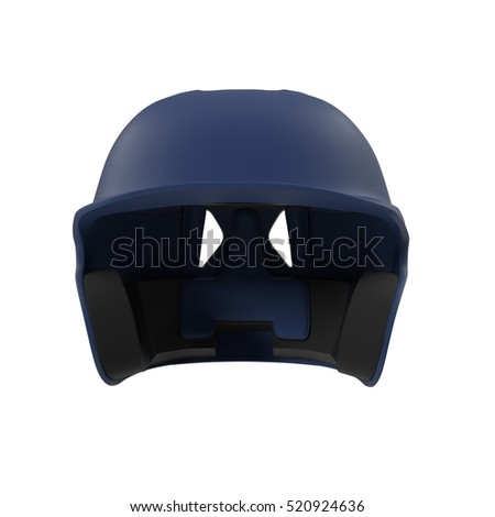 Blue baseball helmet on white. Front view. 3D illustration