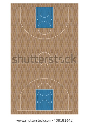 Blue Basketball Court with Hardwood Texture - stock photo