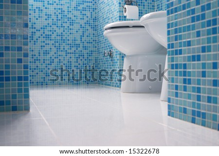 Blue bathroom closeup - stock photo