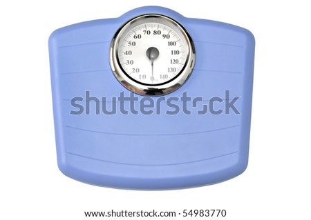 Blue bathroom scale isolated in white - stock photo