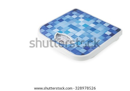 blue bathroom weight scale on white background - stock photo