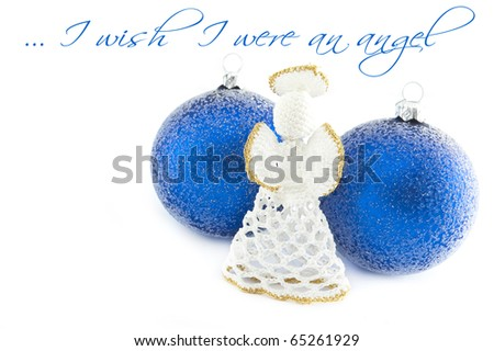 blue baubles with an angel - stock photo