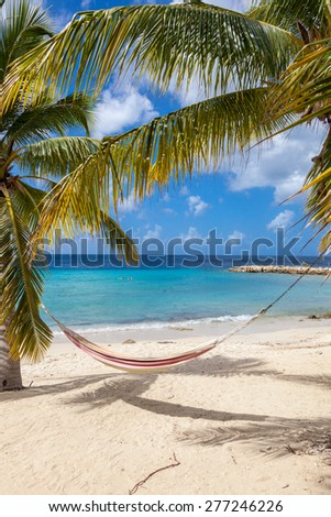 Blue Bay Beach Curacao ( Dutch Antilles)  an island in the Caribbean Ocean  - stock photo