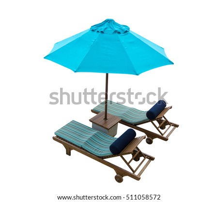 Blue beach chair with umbrella isolated on white background, Summer object for your summer theme concept.