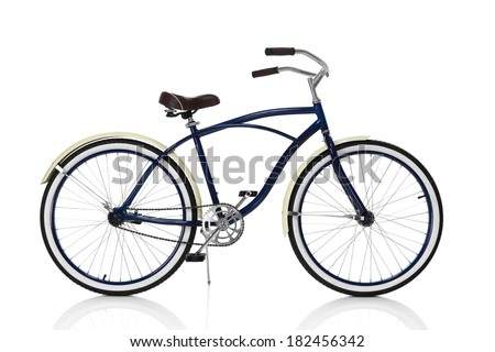 Blue Beach cruiser isolated on white, side view - stock photo