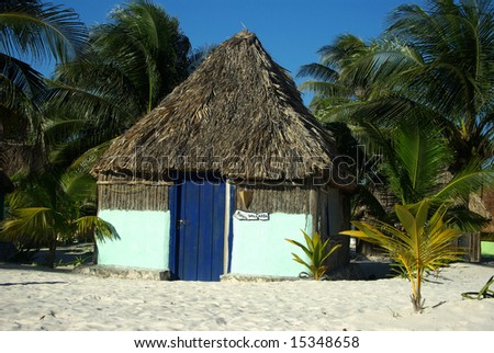 Blue beach hut - stock photo