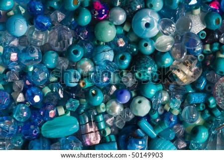 Blue beads - stock photo