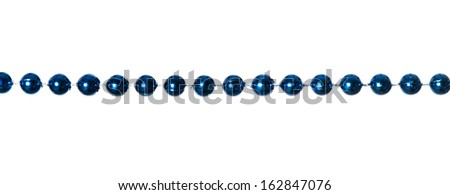 Blue beads garland isolated on white background