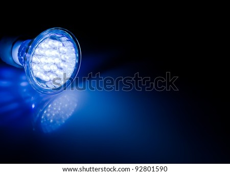 Blue beam of led lamp - stock photo