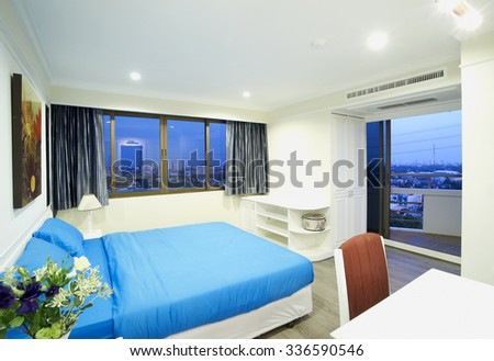 Blue bedroom - stock photo