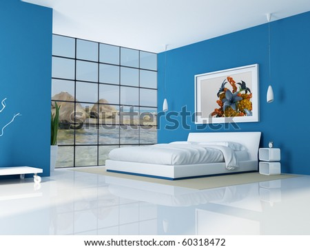 blue bedroom of a beach villa - rendering - the art picture on wall is a my rendering composition,background is a my photo - stock photo