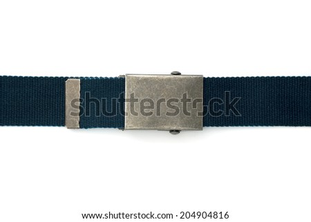 Blue belt with square buckle isolated on white  - stock photo
