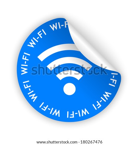 blue bent sticker with white wifi sign (raster version, available as vector too) - stock photo