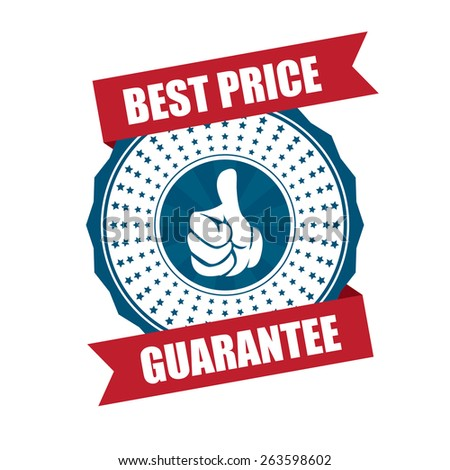 blue best price guarantee ribbon, sticker, sign, stamp, icon, label isolated on white - stock photo