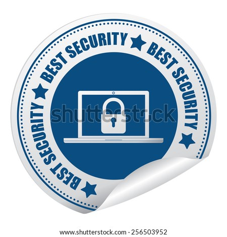 Blue Best Security Sticker, Icon or Label Isolated on White Background  - stock photo