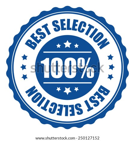 blue 100% best selection icon, tag, label, badge, sign, sticker isolated on white  - stock photo