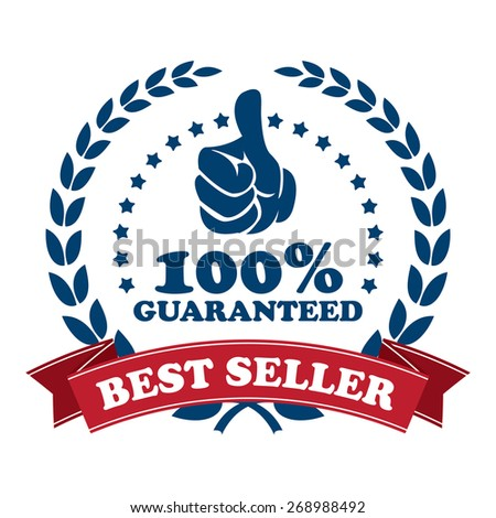 blue best seller 100% guaranteed ribbon, sticker, sign, icon, label isolated on white - stock photo