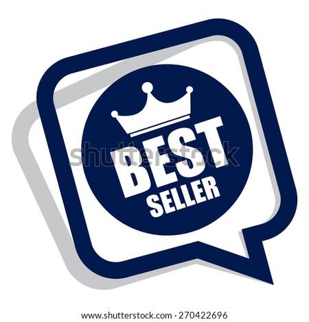 blue best seller speech bubble, speech balloon, sticker, sign, icon, label isolated on white - stock photo