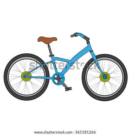 Blue Bicycle on a white background. Children's Bicycle.