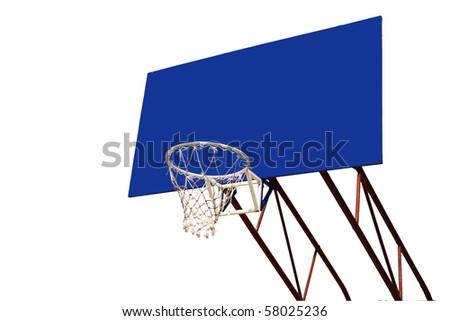 blue billboard with basket - stock photo