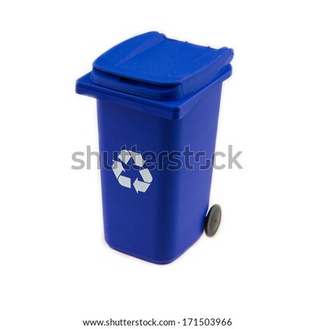 Blue bin - stock photo
