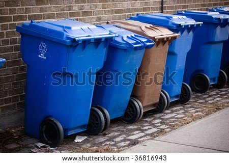 blue bin facility background - stock photo