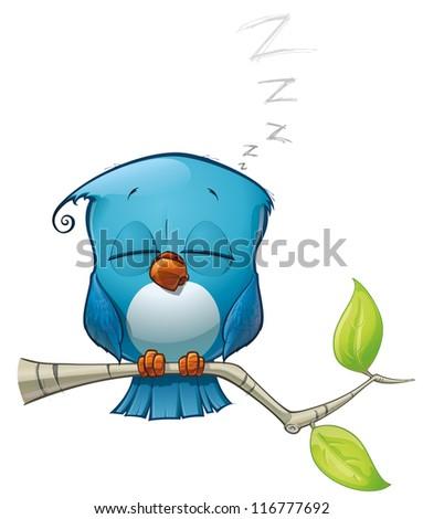 Blue Bird Sleeping - stock photo