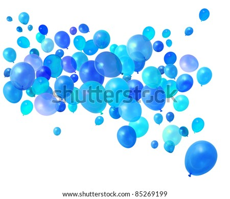 Blue birthday party balloons flying on white background - stock photo