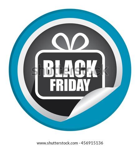 Blue Black Friday  Promotion Campaign Infographics Icon on Circle Peeling Sticker Isolated on White Background  - stock photo
