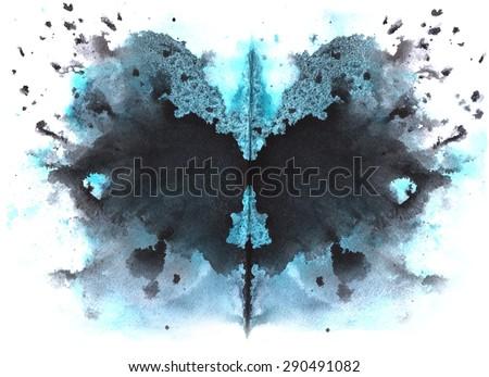 blue - black watercolor symmetrical Rorschach blot on a white background - stock photo