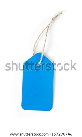 Blue blank price label tag isolated on white background - stock photo