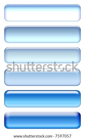 Blue blank rectangle icon set