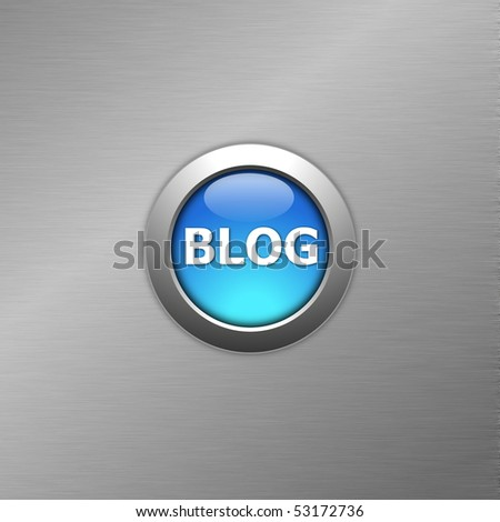 blue blog internet computre button on metal - stock photo