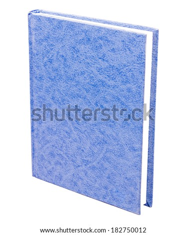 Blue book with blank patterned hardcover standing isolated on white background