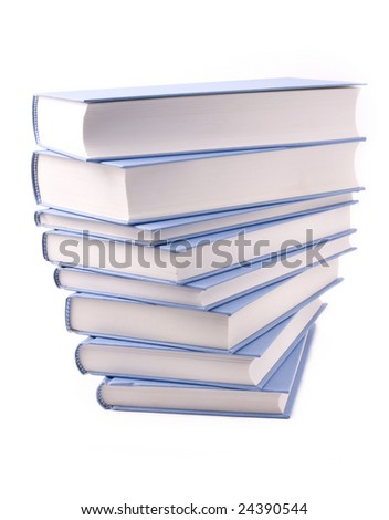blue books on a white background