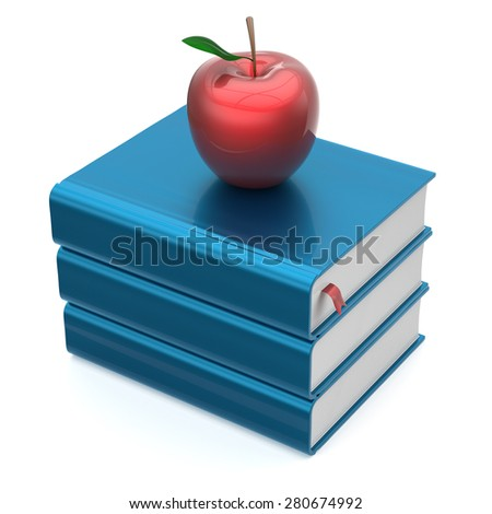 Blue books textbooks stack red apple education studying reading learning school college knowledge literature idea icon concept. 3d render isolated on white - stock photo