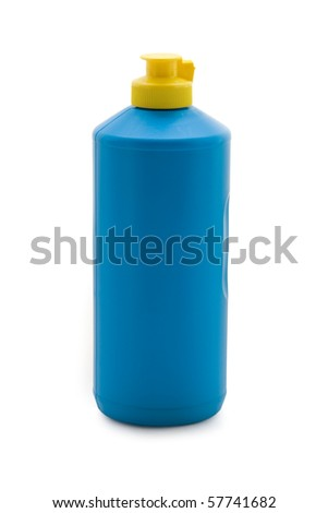 Blue bottle isolated on a white background - stock photo