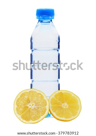 Blue bottle with water and fresh yellow lemon isolated on white background - stock photo