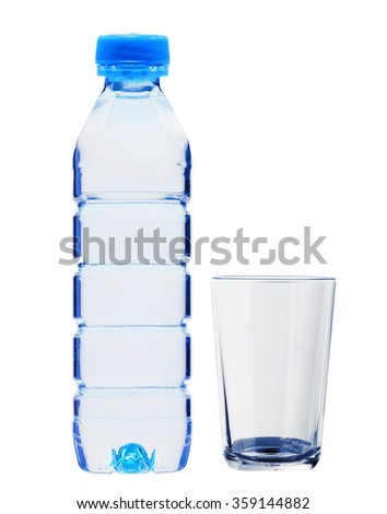 Blue bottle with water and glass isolated on white background - stock photo