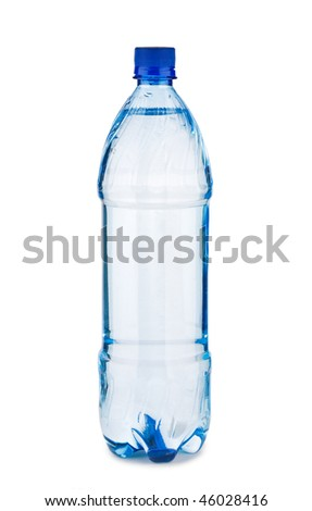 blue bottle with water isolated on a white background - stock photo