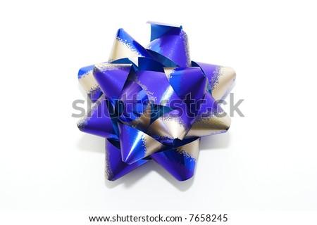 blue bow isolated on white - stock photo