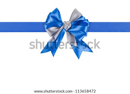 Blue bow isolated on white background - stock photo