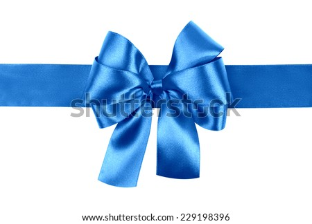 blue bow photo made from silk - stock photo