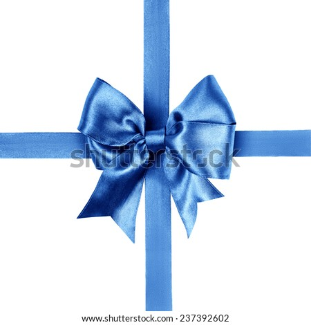 blue bow photo made from silk isolated
